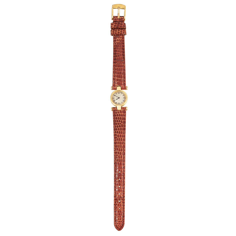 Los 357 - A 'MUST DE CARTIER' LADIES WRISTWATCH, CARTIER with brown leather strap, 20cm, 14.16g.
