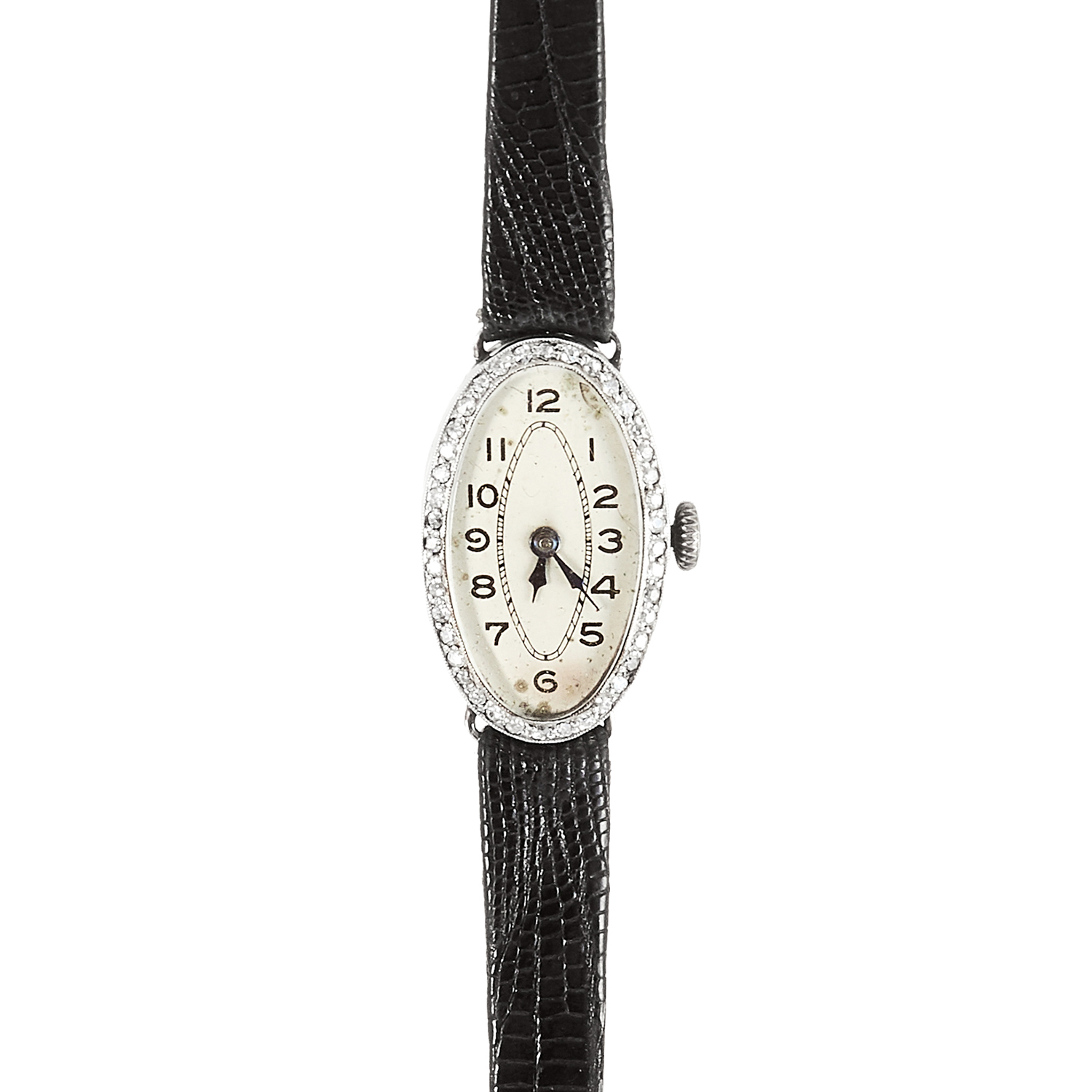 Los 15 - AN ANTIQUE ART DECO DIAMOND COCKTAIL WATCH, CIRCA 1920 in platinum, the oval face encircled with