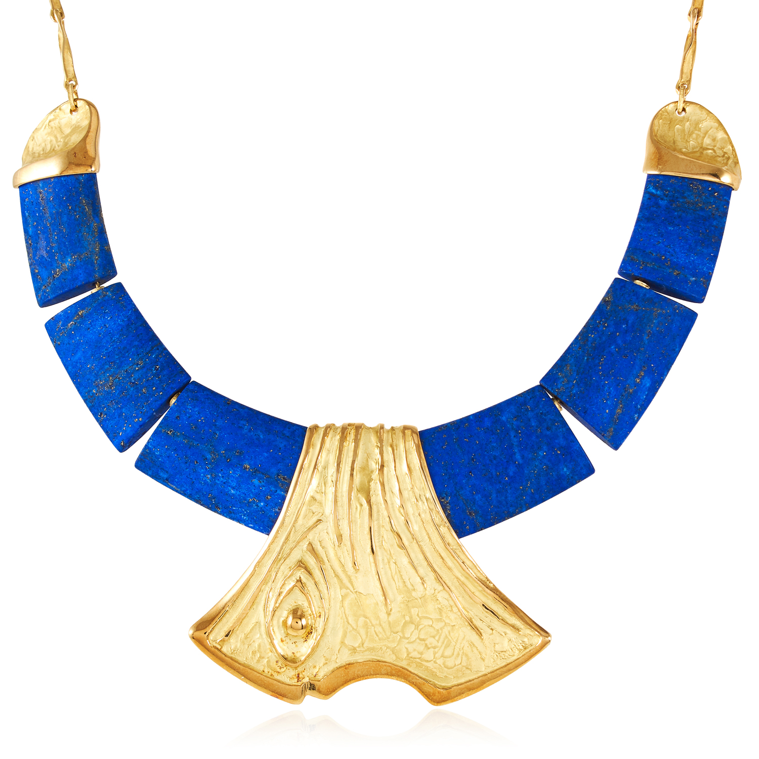 A LAPIS LAZULI COLLAR NECKLACE in 18ct yellow gold, designed as a collar of six graduated polished
