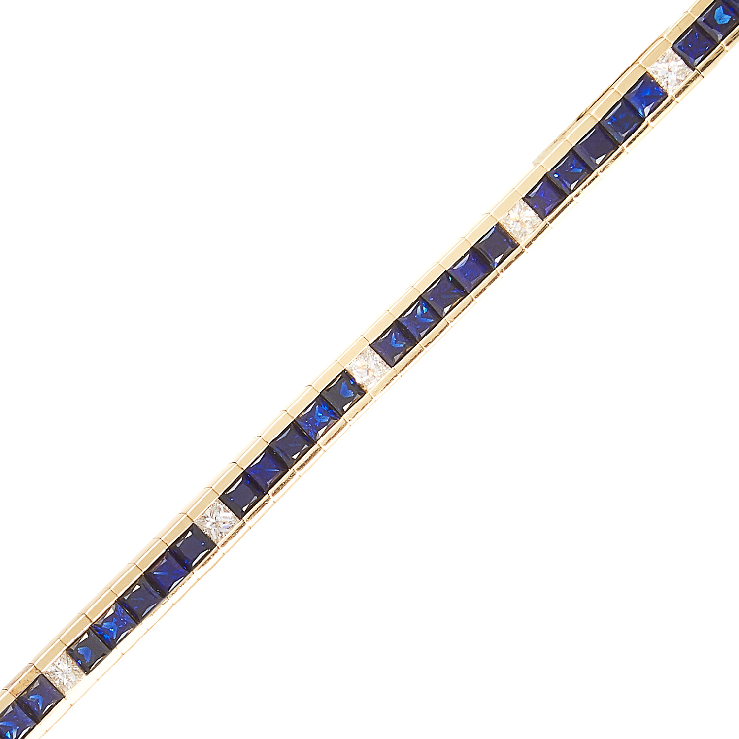 A SAPPHIRE AND DIAMOND LINE BRACELET in 18ct yellow gold, comprising ten rows of five princess cut - Image 2 of 2