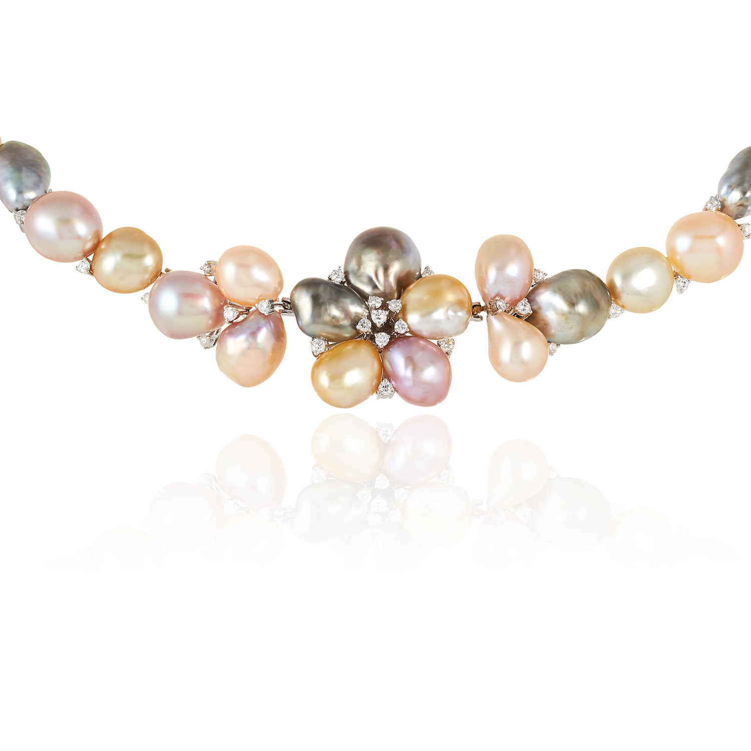 A PEARL AND DIAMOND NECKLACE, SCHOEFFEL in 18ct white gold, designed as floral motif jewelled with