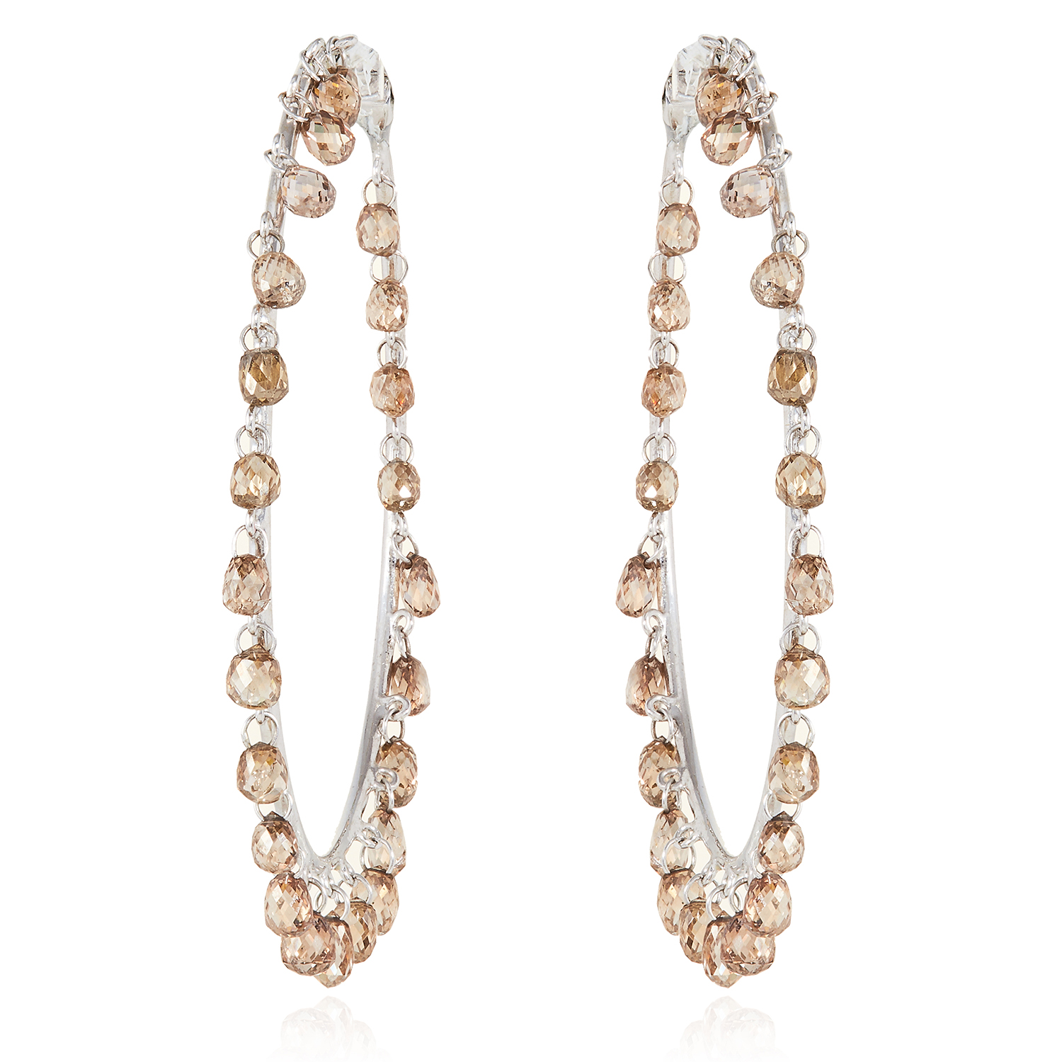 A PAIR OF 7.20 CARAT FANCY BROWN DIAMOND HOOP EARRINGS in 18ct white gold, each designed as a