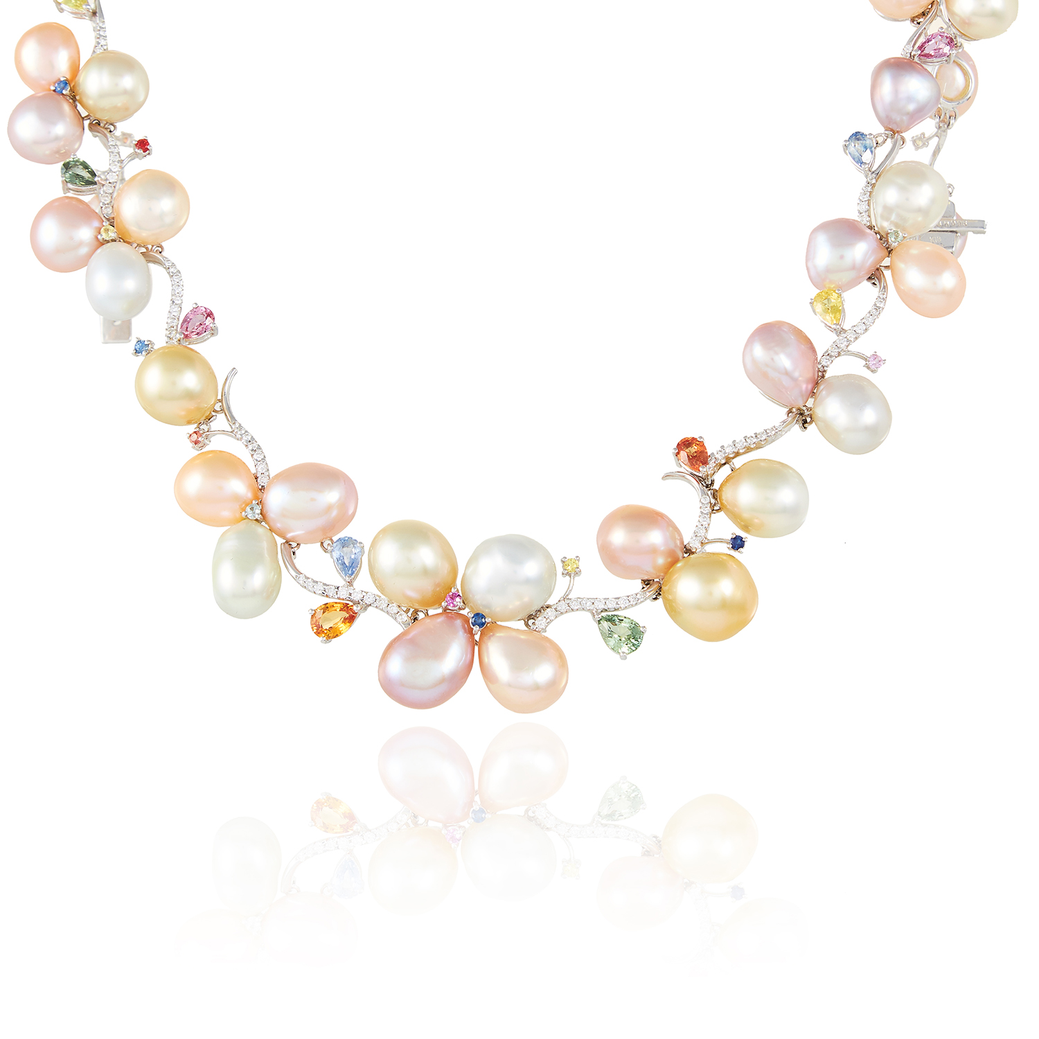 A PEARL, SAPPHIRE AND DIAMOND NECKLACE, SCHOEFFEL in 18ct white gold, designed as a collar set