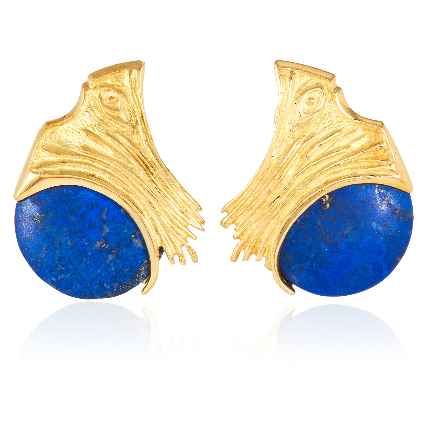 A PAIR OF LAPIS LAZULI EARRINGS in 18ct yellow gold, each designed as a polished lapis lazuli disc