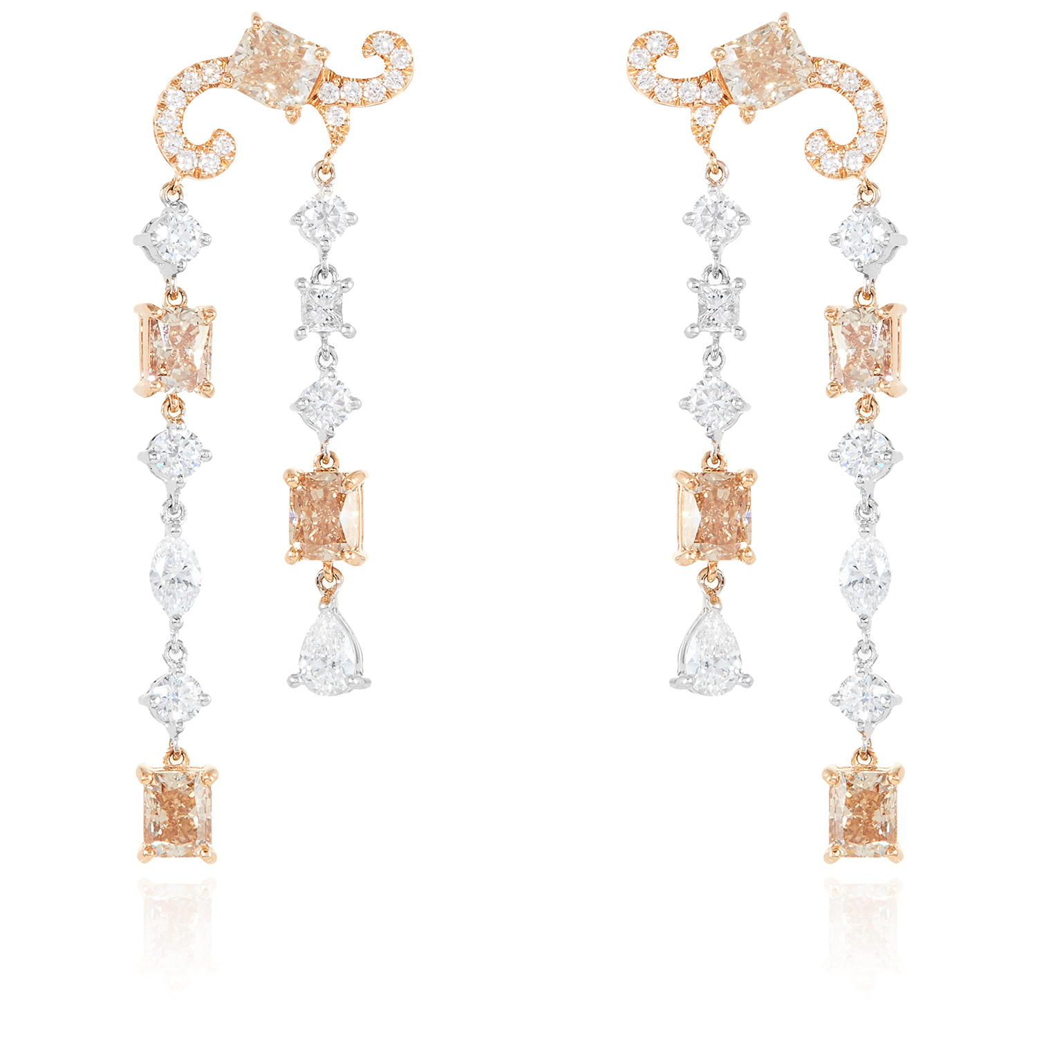 A PAIR OF 5.45 CARAT DIAMOND EARRINGS in 18ct white and rose gold, each set with a radiant cut fancy
