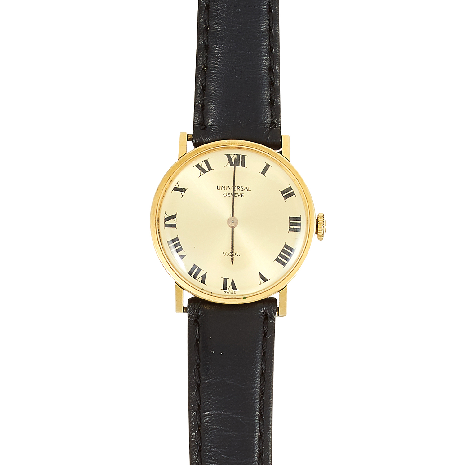 Los 354 - A LADIES WRISTWATCH, UNIVERSAL with gold dial and black leather strap, 23cm, 19.41g.