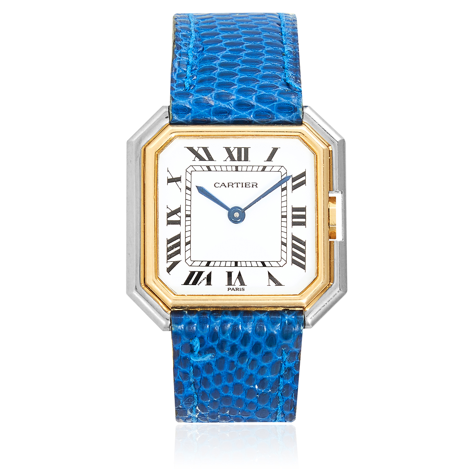 Los 351 - A 'CEINTURE' LADIES WRISTWATCH, CARTIER in 18ct white and yellow gold, with white dial and blue