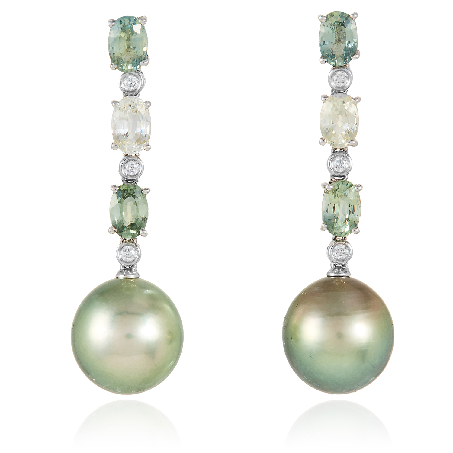 A PAIR OF SAPPHIRE, DIAMOND AND PEARL EARRINGS in 18ct white gold, each suspending a large green