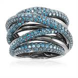 A BLUE DIAMOND DRESS RING in platinum, the octofurcated, interwoven design jewelled with round cut
