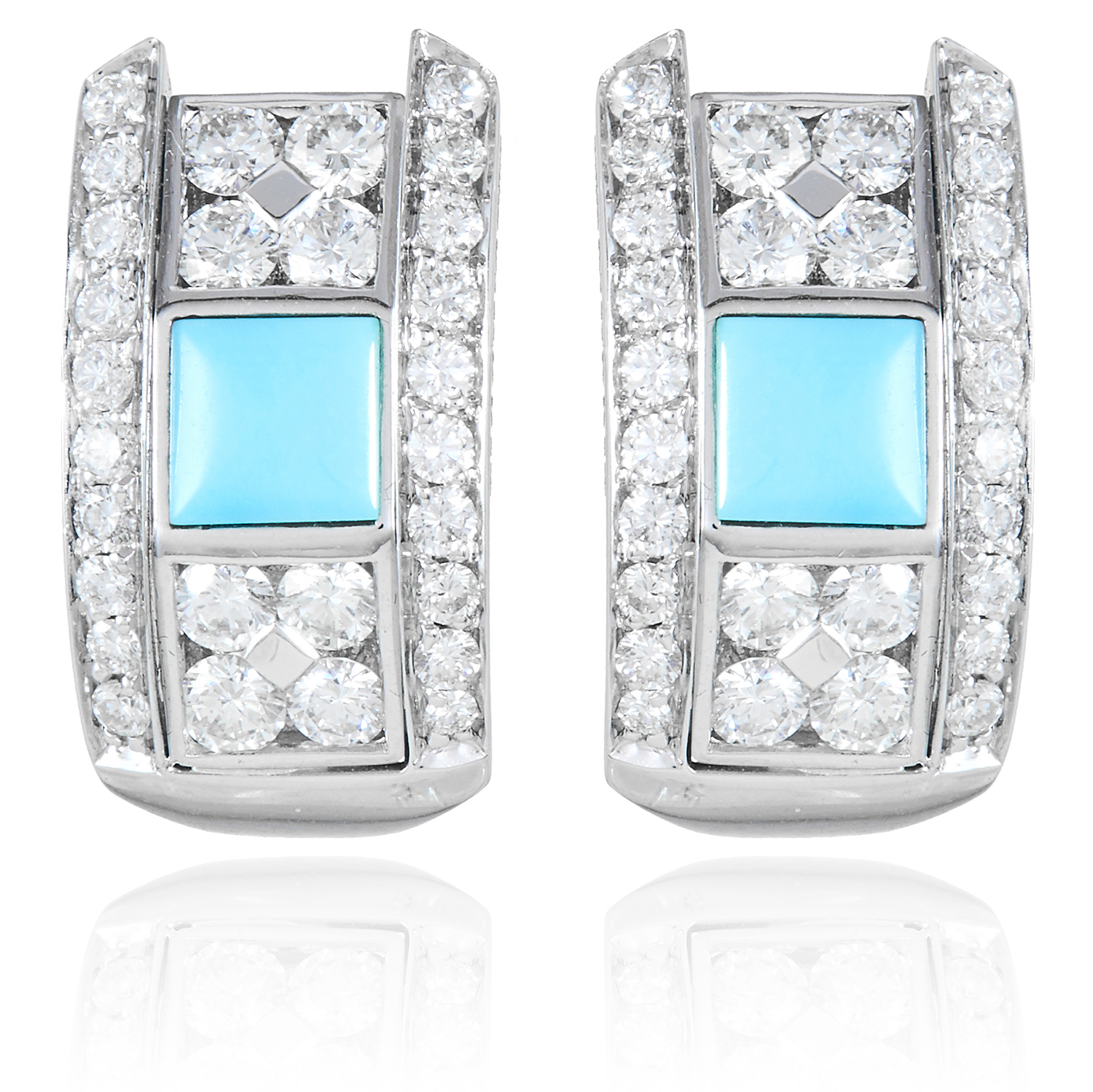A PAIR OF TURQUOISE AND DIAMOND EARRINGS, PICCHIOTTI in 18ct white gold, each set with a square