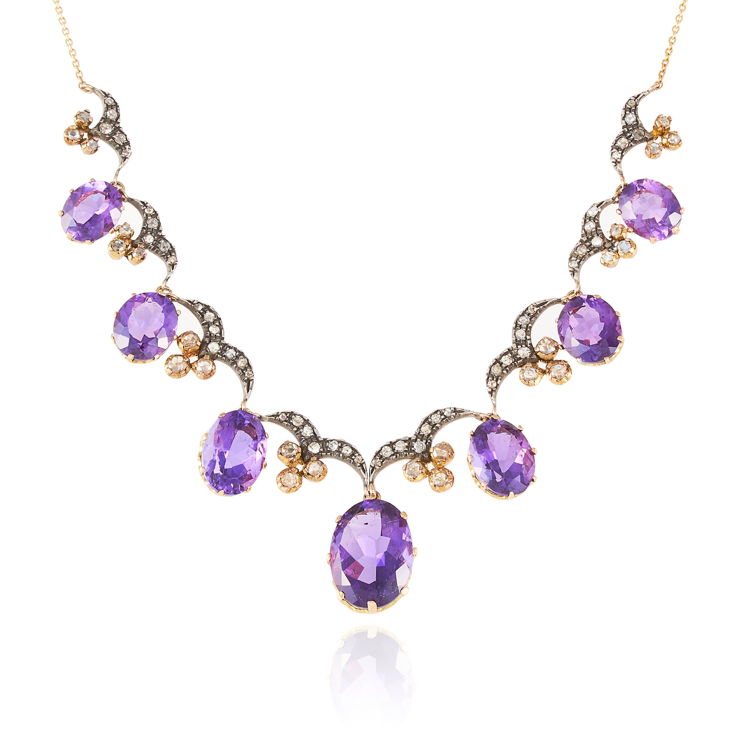 AN ANTIQUE AMETHYST AND DIAMOND NECKLACE, 19TH CENTURY in high carat yellow gold and silver,