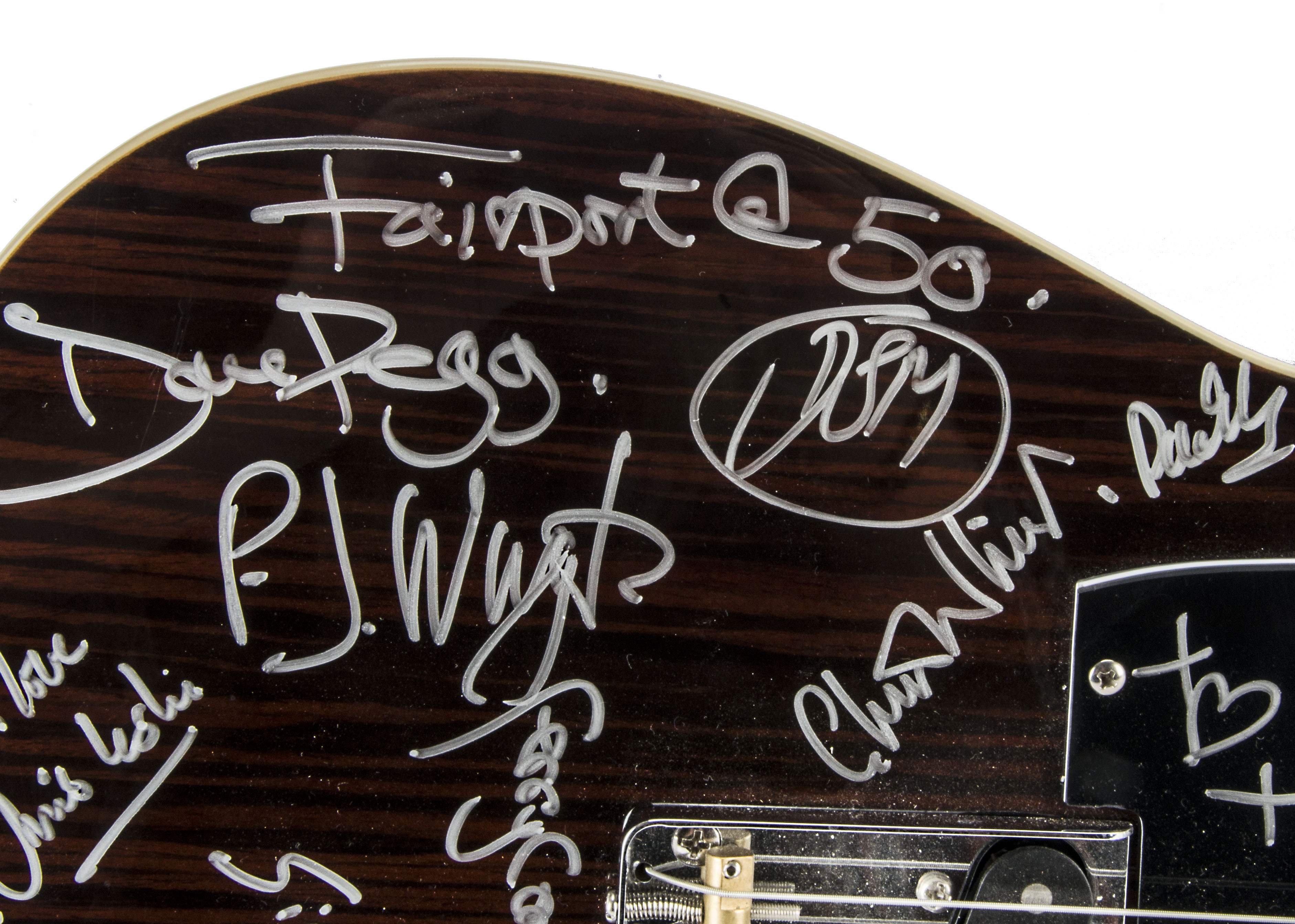 Lot 686 - Fairport Convention / Autographs, A Harvey Bentone Guitar signed by Judy Dyble, Richard Thompson,