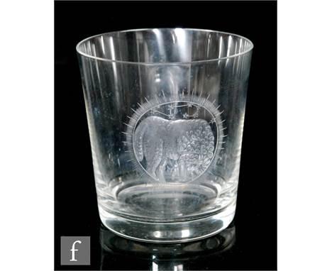 Vera Liskova - J & L Lobmeyr - A clear crystal Zodiac tumbler of cylindrical form engraved with a circular roundel for Ar