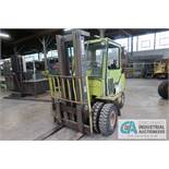 6,000 LB. CLARK MODEL GPS30MB GAS POWERED PNEUMATIC RIBBED TIRES THREE STAGE MAST LIFT TRUCK; S/N