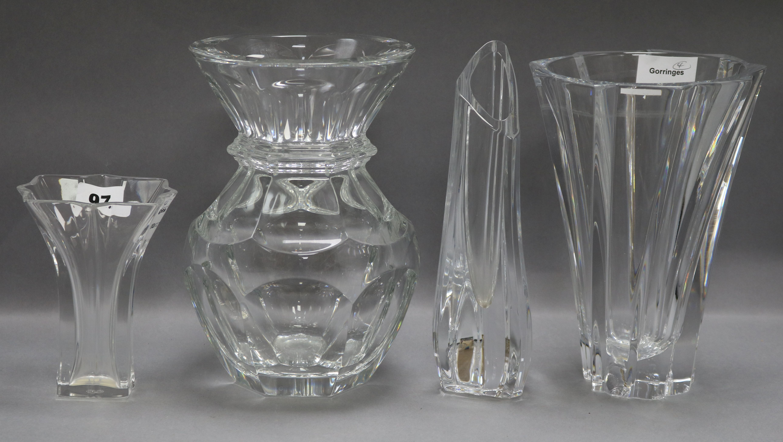 Four Baccarat crystal vases tallest 22cm