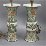 A pair of late 18th century Chinese famille verte vases mounted as table lamps height 36cm