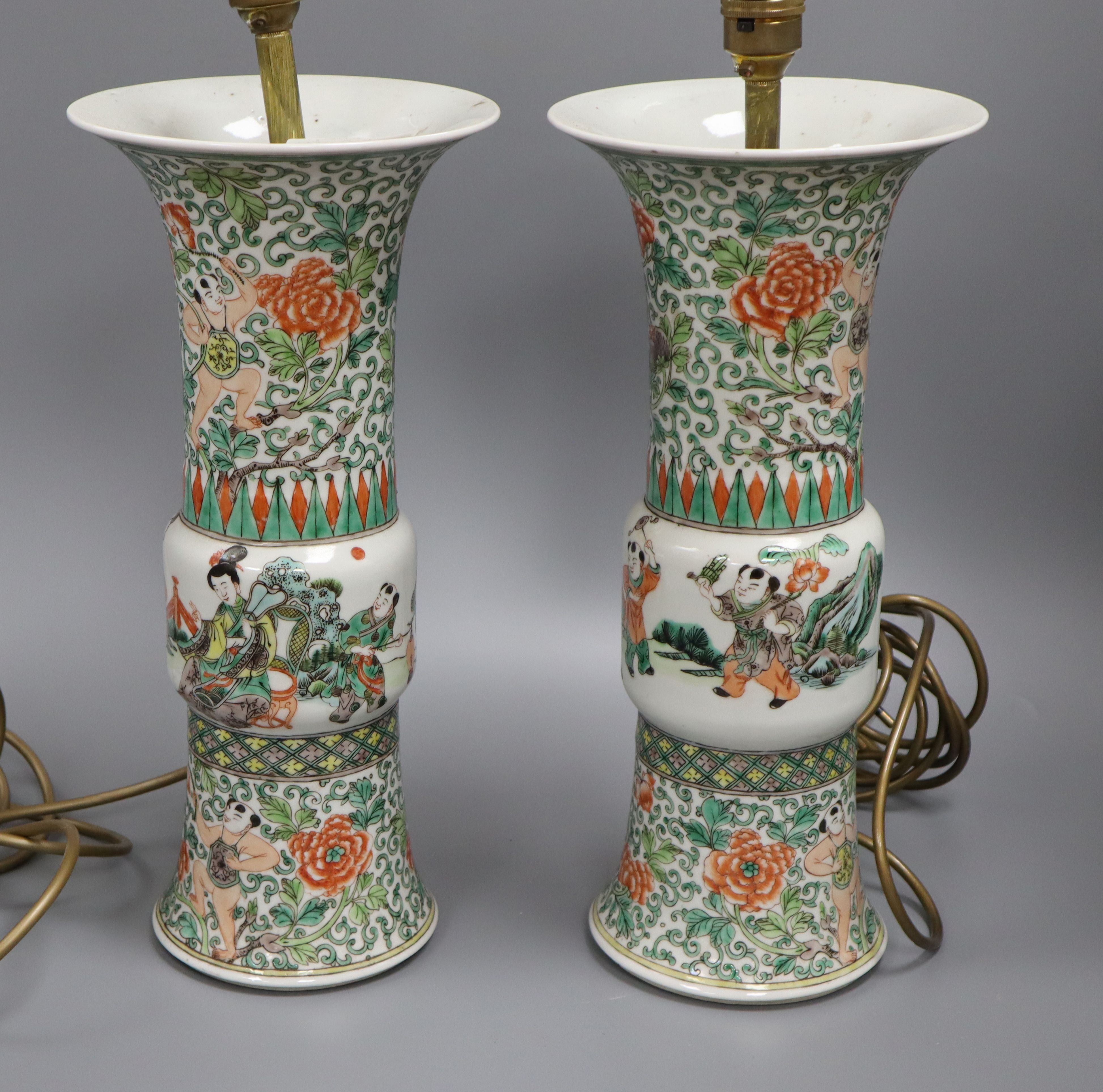 Lot 40 - A pair of late 18th century Chinese famille verte vases mounted as table lamps height 36cm