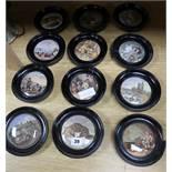 A collection of twelve Victorian Prattware pot lids, framed