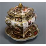 A Royal Crown Derby casket and dish height 10cm