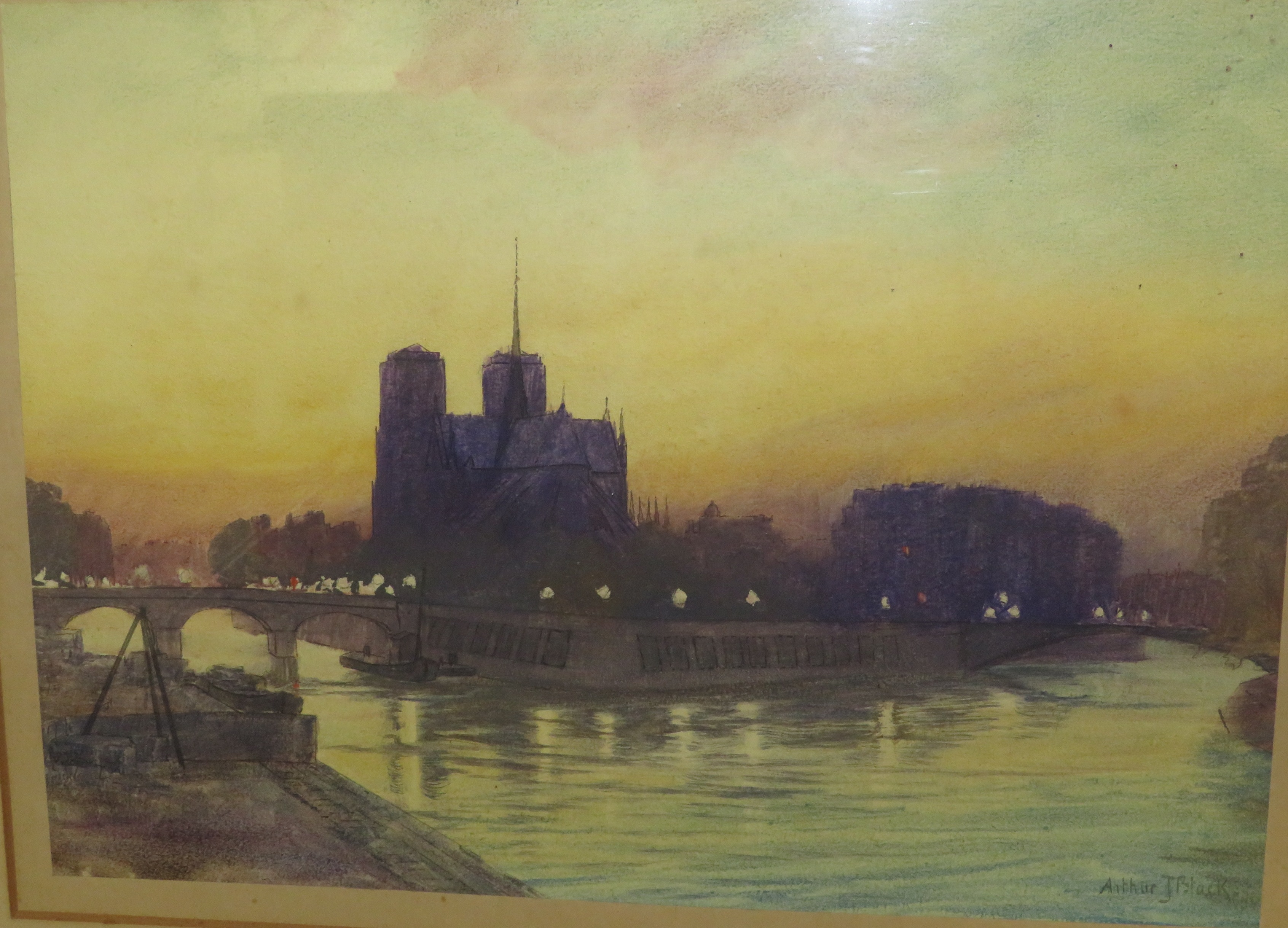 Lot 20 - Notre Dame cathedral in twilight, watercolour, signed Arthur J Black lower right, (26cm x 37cm) in a