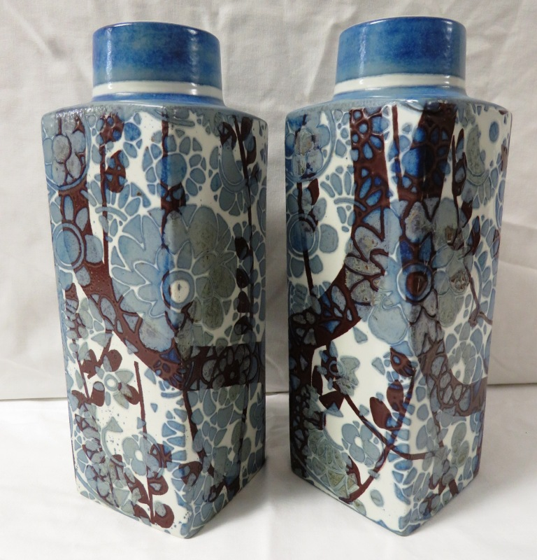 Lot 81 - Pair of Royal Copenhagen Fajance vases of square section with round necks, glazed with stylized