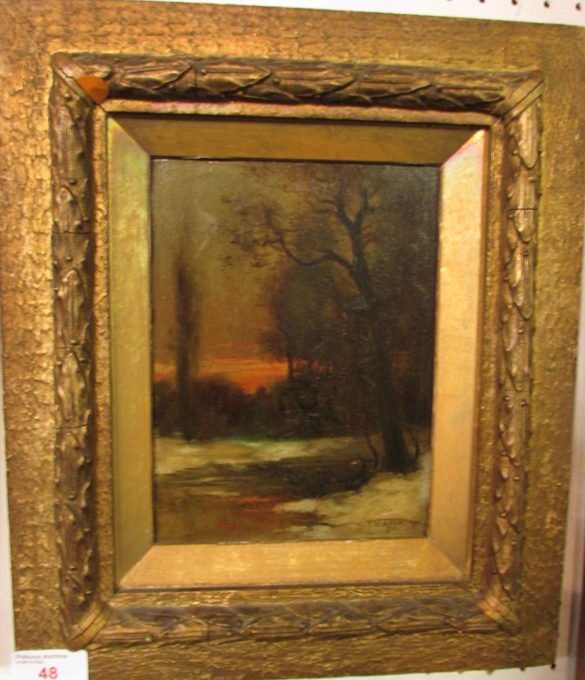 Lot 48 - Winter landscape with red sky and trees, oil on board, signed T.W. Allen lower right with indistinct