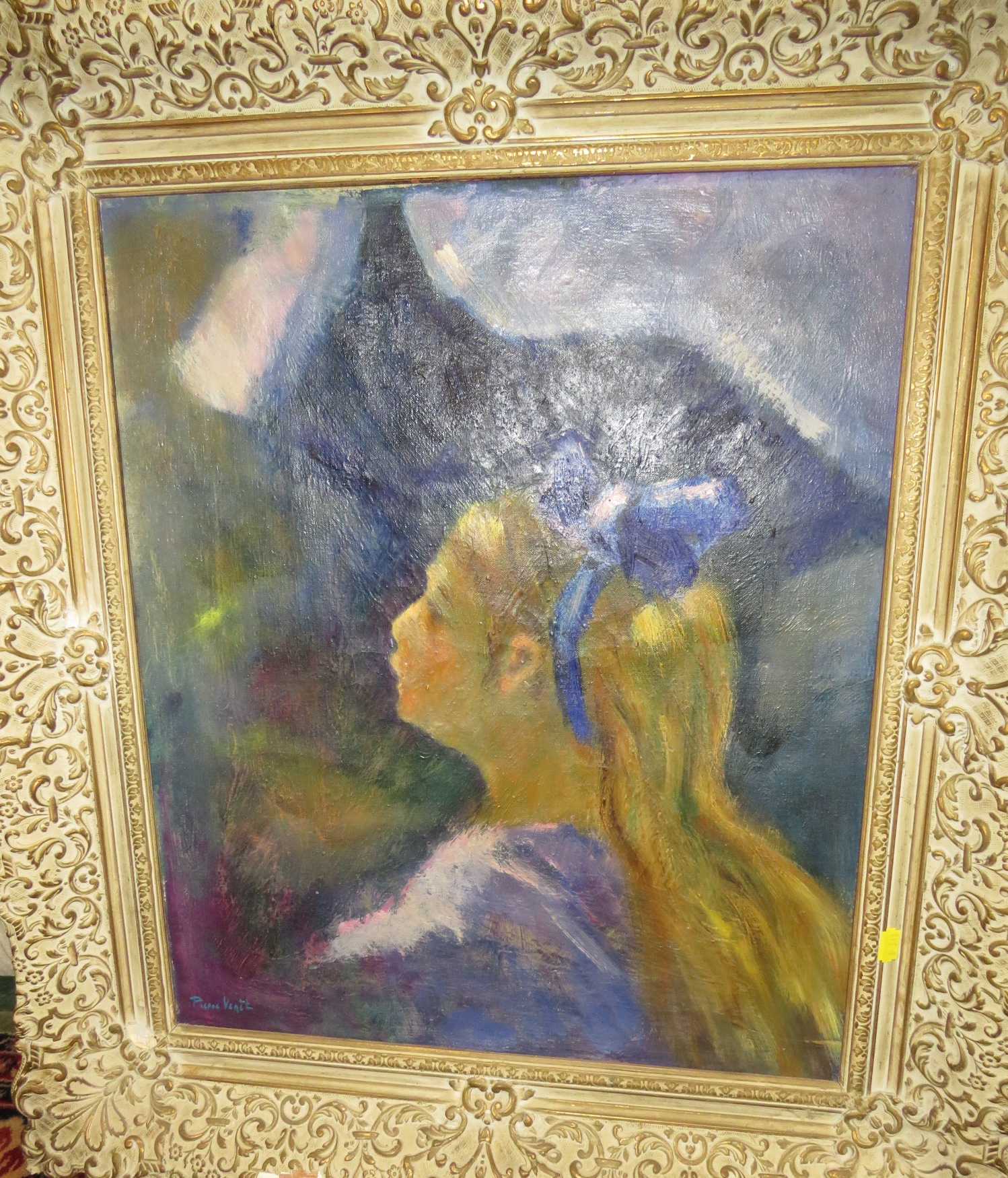 Lot 8 - Portrait of girl with blue bow in her hair, oil on canvas, signed Pierre Venit (?) lower left, (58cm
