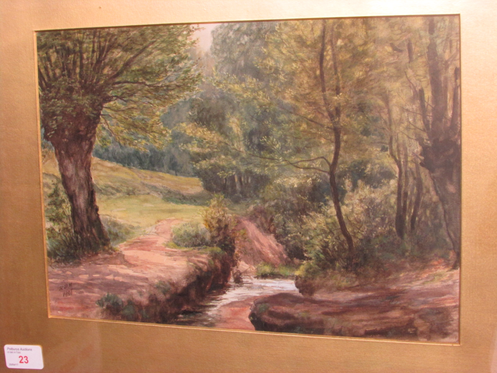 Lot 23 - Trees and stream, watercolour, initialled RBM and dated 1896 lower left, (24cm x 34cm) F&G,