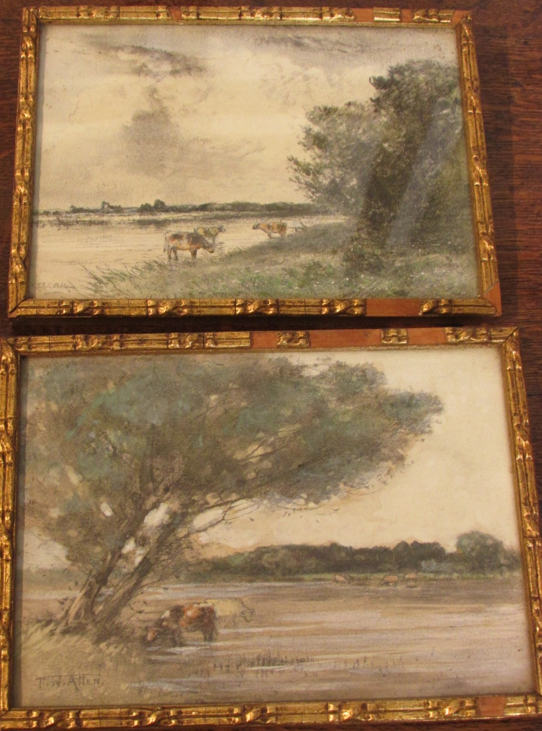 Lot 11 - Two watercolour and graphite sketches of watering cattle, each 12.5cm x 17.5cm and signed T. W.