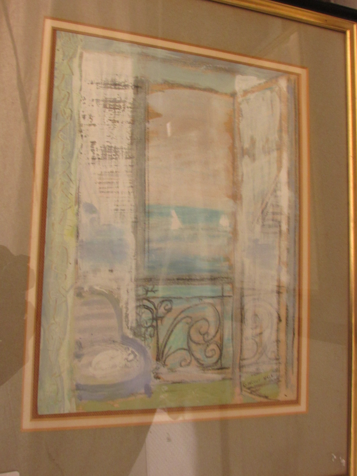 Lot 19 - 'Balcony Window', gouache and pastel, signed G. WRIGHT HALL lower right, (33.5cm x 25cm), F&G,