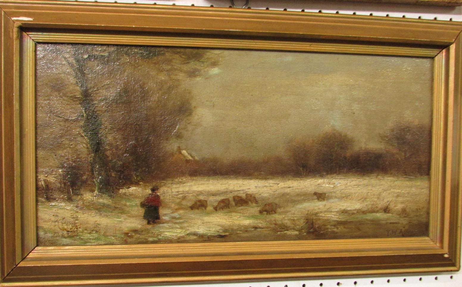 Lot 49 - Shepherdess and sheep in winter landscape, oil on canvas (18.5cm x 38.5cm), signed T.W. Allen