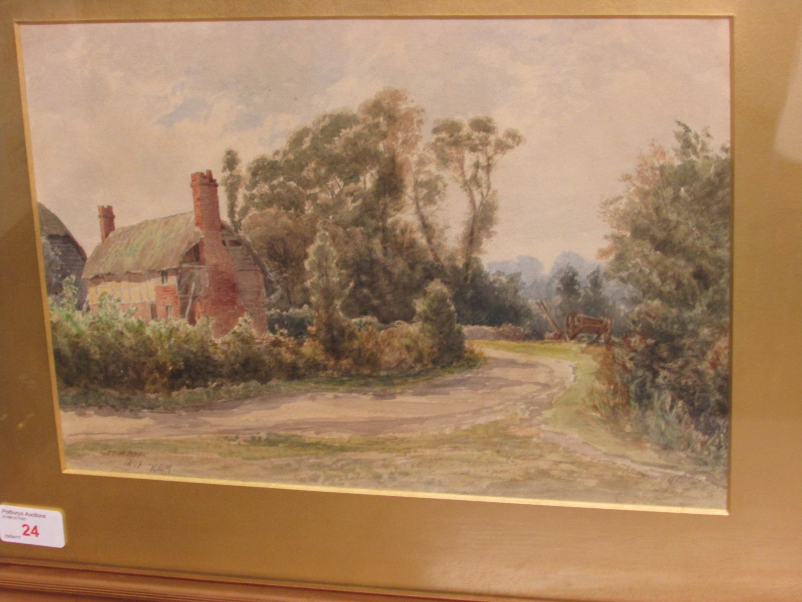 Lot 24 - Crookham, watercolour, titled lower left, initialled RBM and dated 1897, (23cm x 34cm), F&G