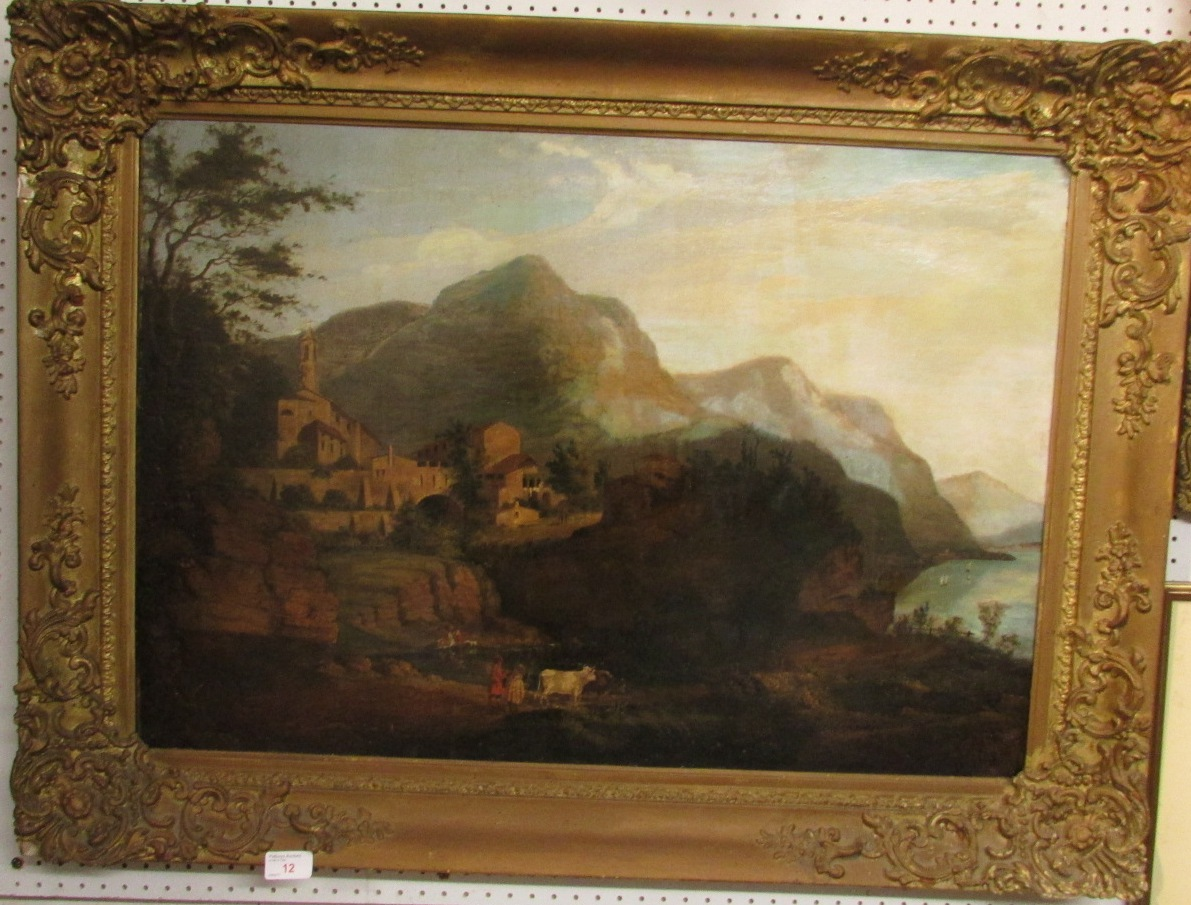 Lot 12 - Italian village on outcrop with mountains and bay beyond, oil on canvas, 19th century, (51cm x