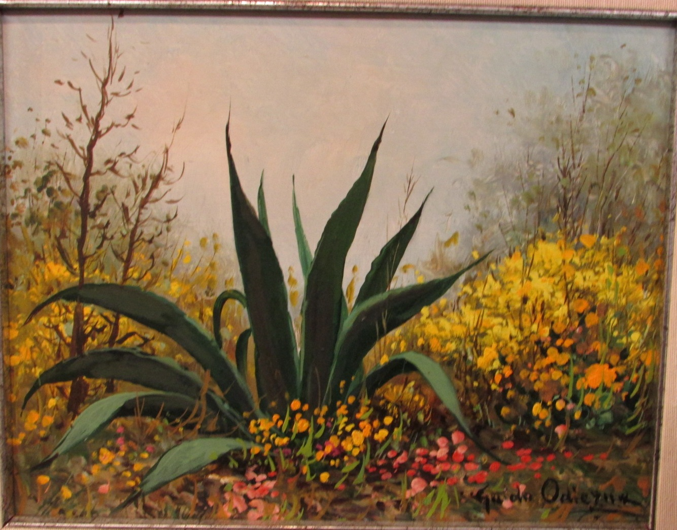 Lot 41 - Agave amongst yellow and pink flowers, oil on board, signed Guido Odierna lower right (22cm x 28.