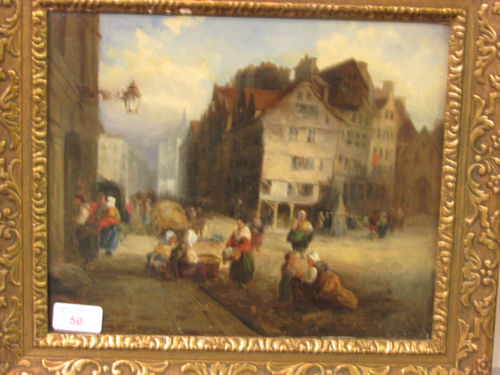 Lot 50 - Dutch style town square scene with market, oil on canvas, perhaps indistinct monogram lower