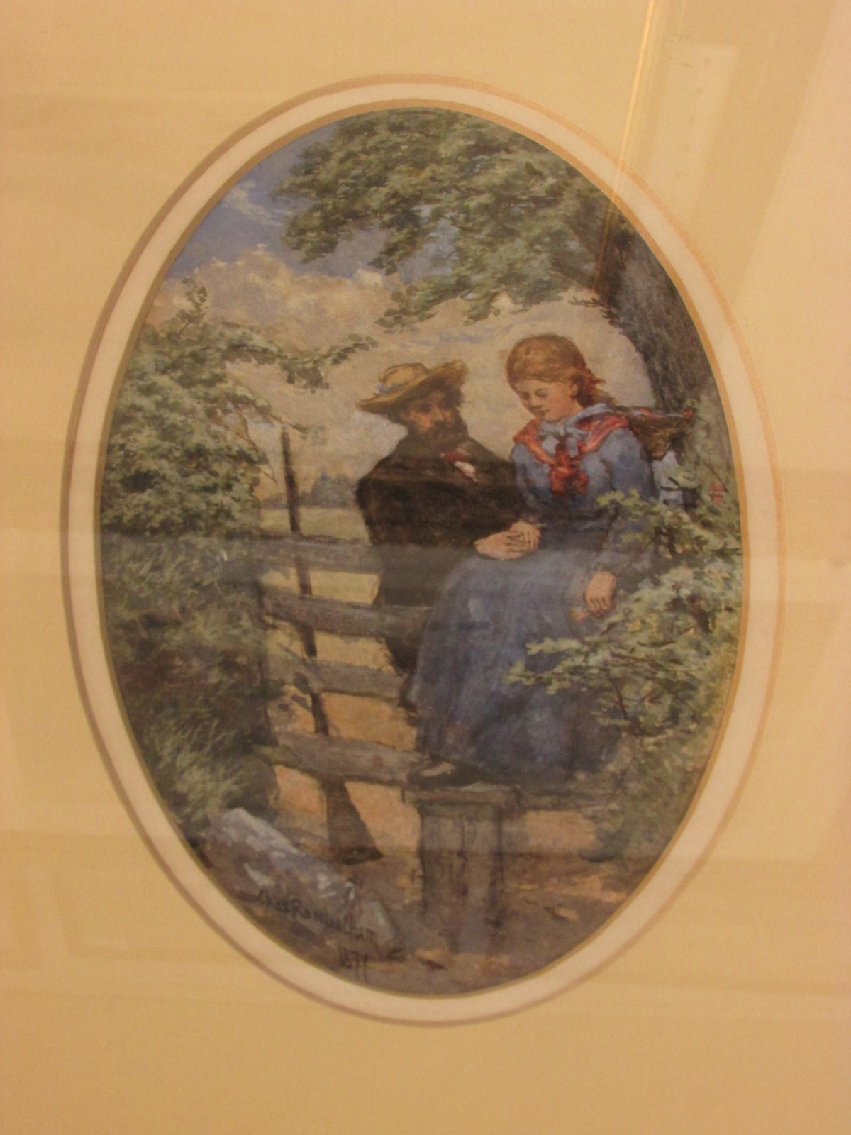 Lot 10 - The courting couple, watercolour, signed Chas Rowbotham lower left and dated 1877, (20cm x 12cm)