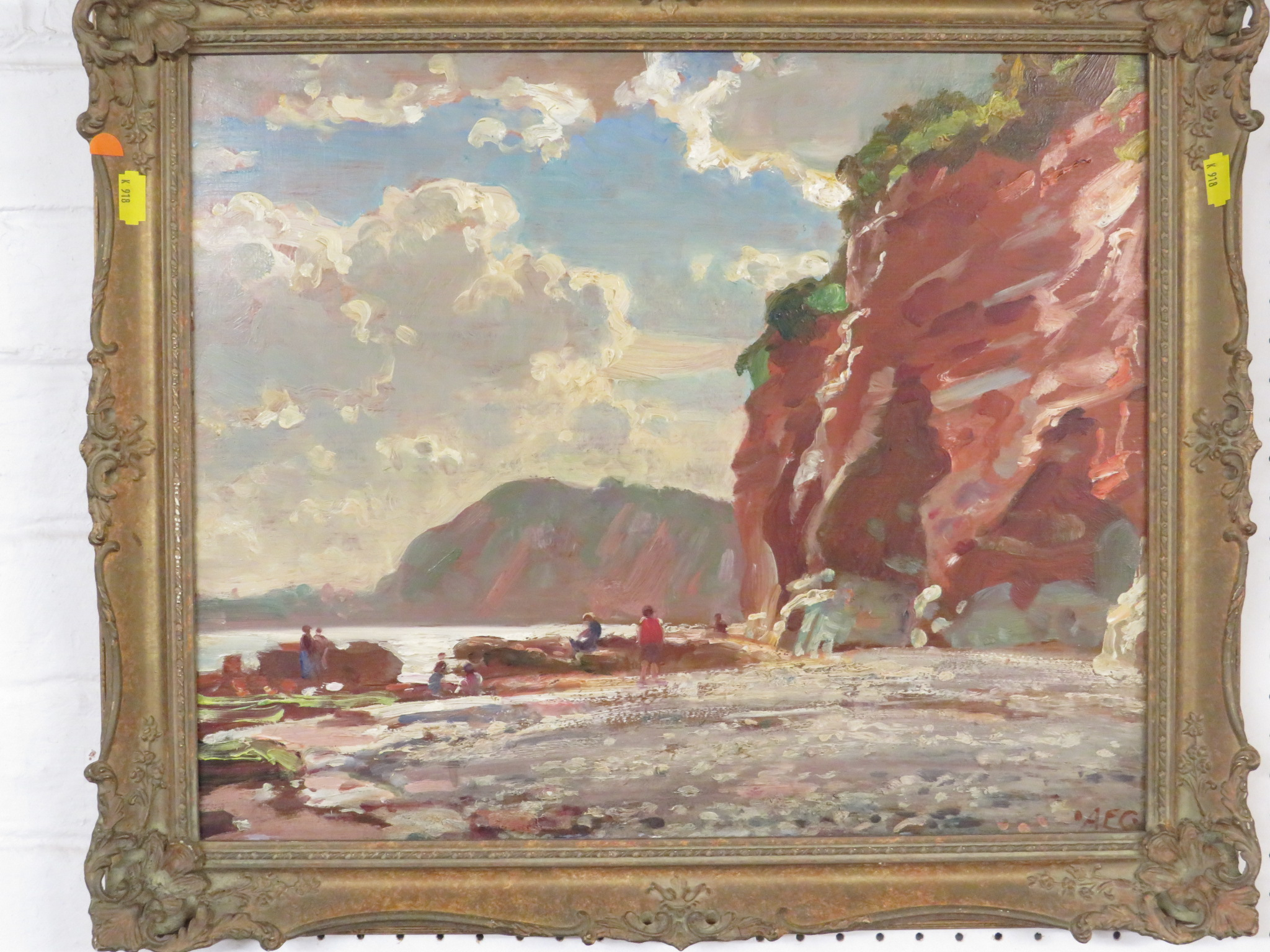 Lot 2 - Sidmouth beach with figures, Chit Rocks, oil on board, initialled AEG lower right, (36.5cm x 44.5cm)