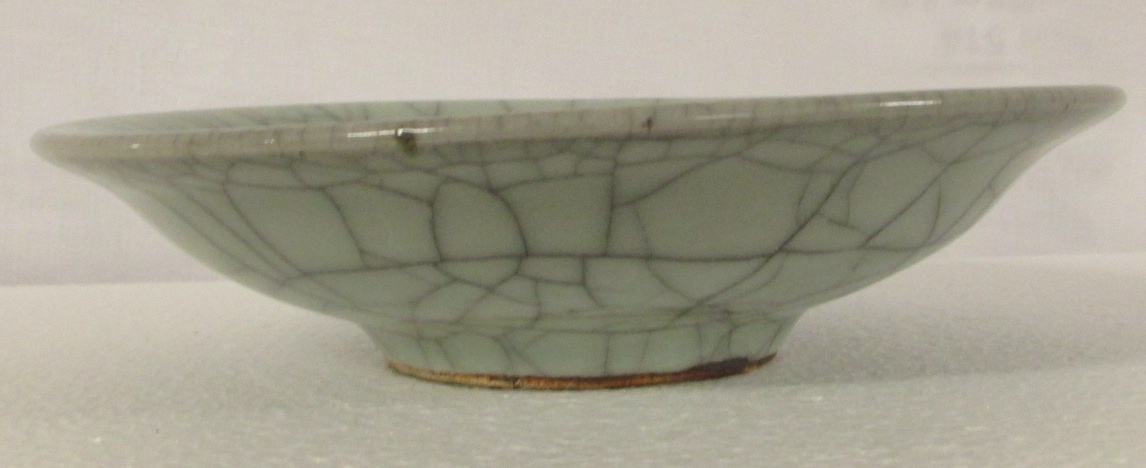 Lot 87 - Chinese Guan type circular dish, stoneware with crackled celadon glaze, diameter 17.6cm, depth 4.