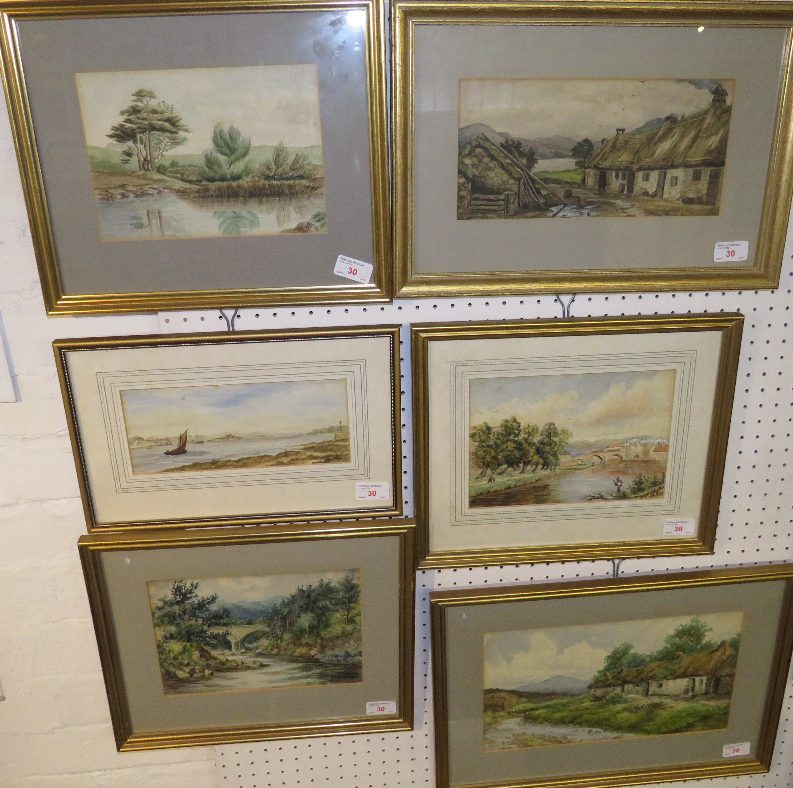 Lot 30 - Six late 19th century watercolour landscapes bearing the monogram AT and one signed Arthur