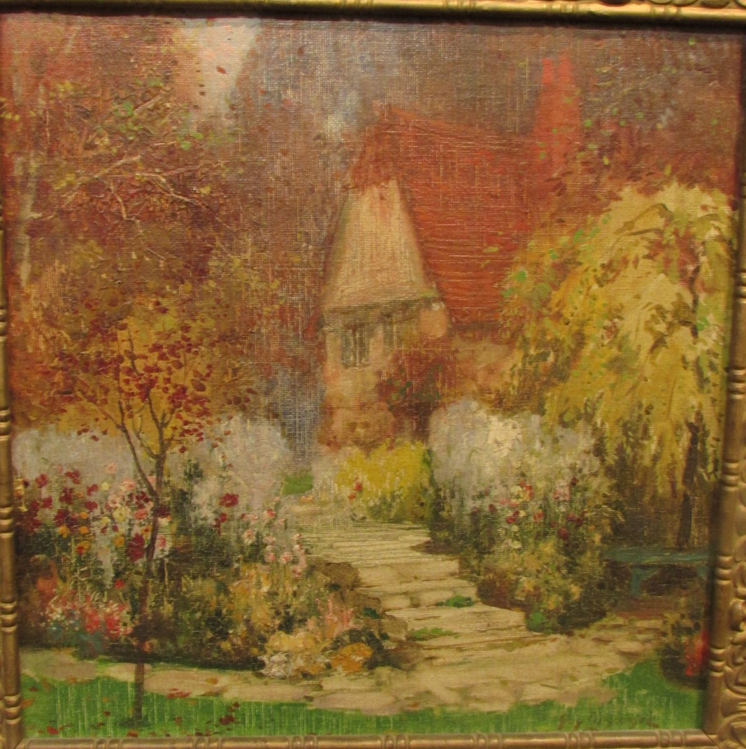 Lot 34 - Cottage garden, oil on canvas laid down on board, signed Guy Lipscombe lower right, (29cm x 29cm),