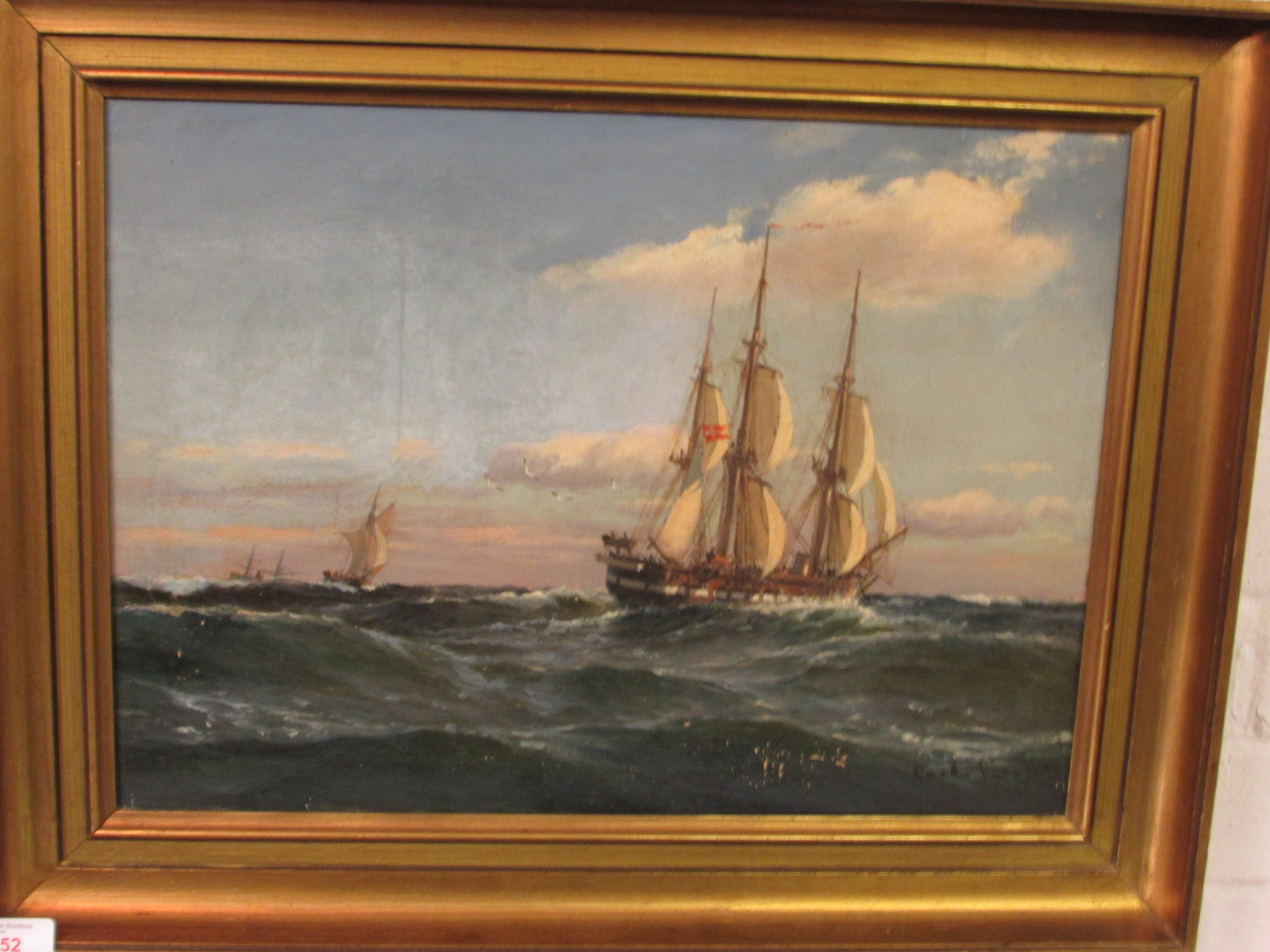 Lot 52 - Three masted sailing ship on rough seas, oil on canvas, signed Carl Locher lower right, (33cm x
