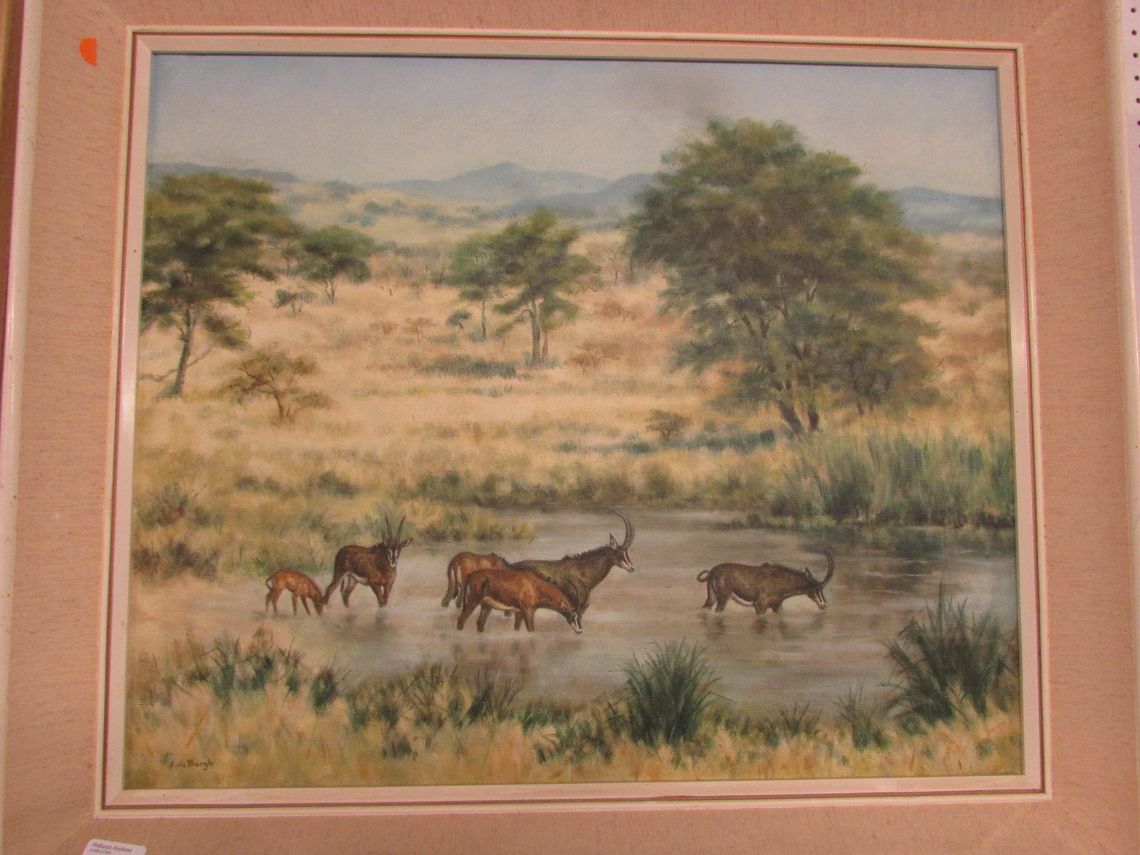 Lot 6 - African landscape with sable antelope, oil on canvas, signed L de Burgh lower left, (49.5cm x 60cm),