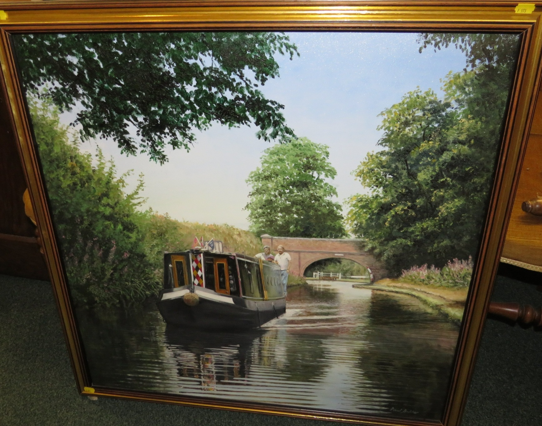 Lot 54 - 'The Canal', oil on canvas, signed Paul Butler lower right, (75cm x 75cm) framed, titled and dated