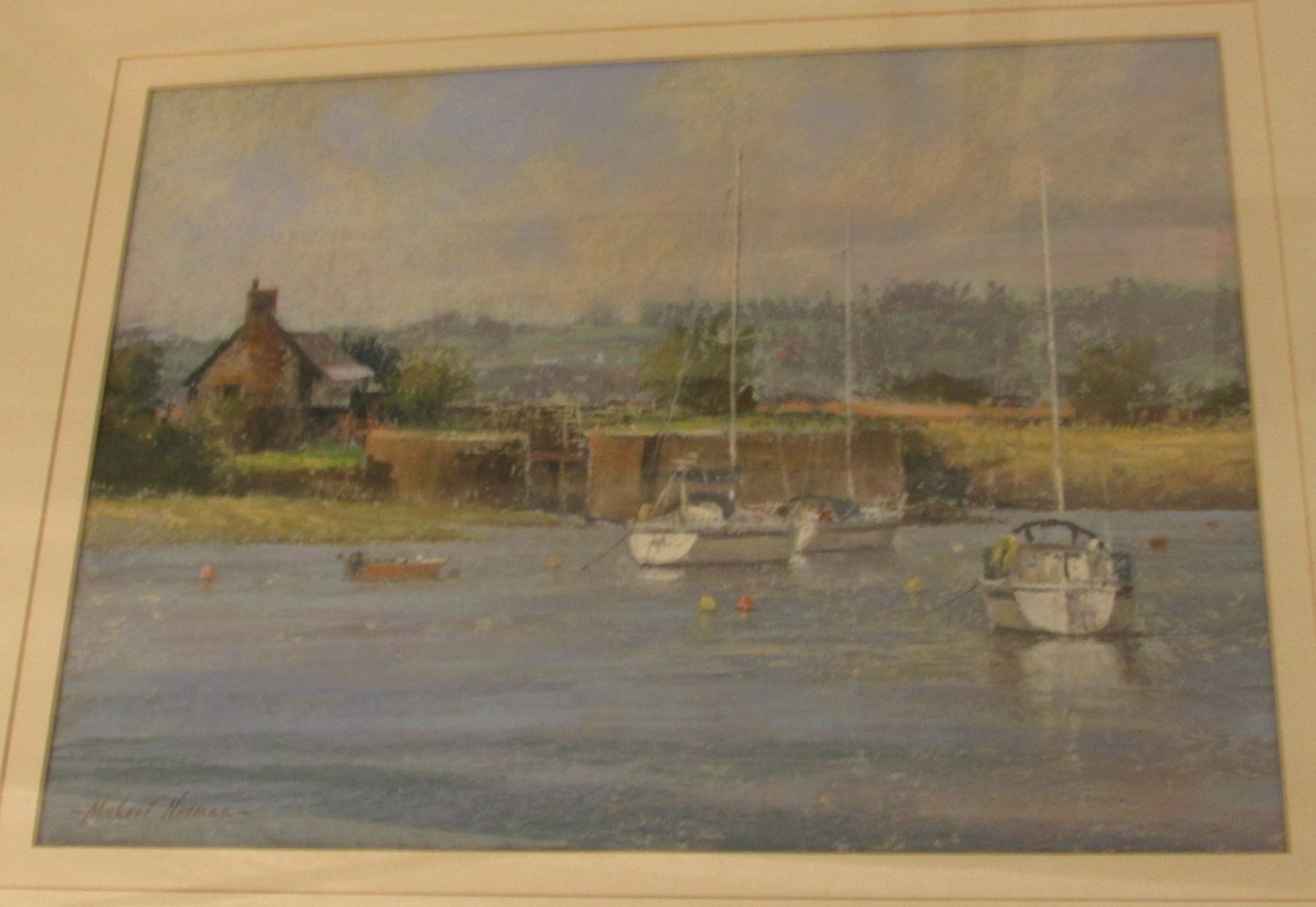 Lot 4 - 'Quiet morning, Topsham', pastel, signed Michael Norman lower left, (27cm x 37cm), F&G, Fred