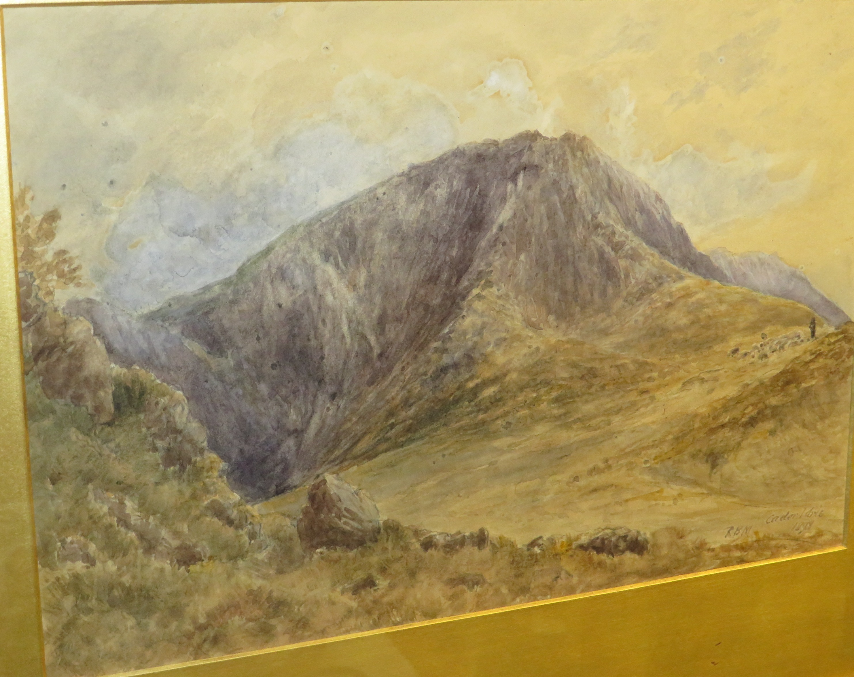 Lot 25 - Cader Idris, watercolour, titled lower right, initialled RBM and dated 1898, (23cm x 34cm), F&G
