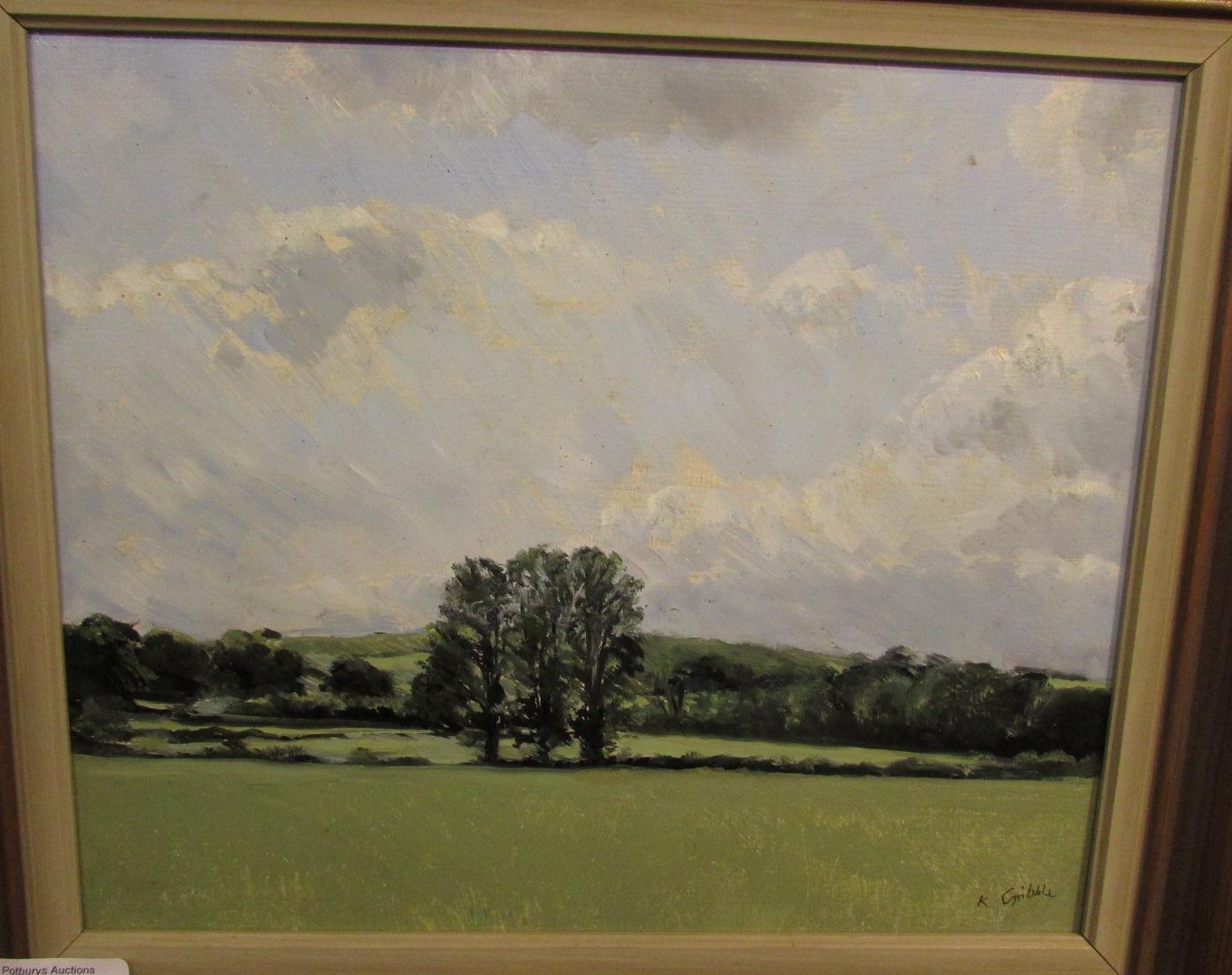 Lot 9 - 'Barrington Trees', oil on board, signed K Gribble lower right, (23.5cm x 28.5cm), framed, artist'