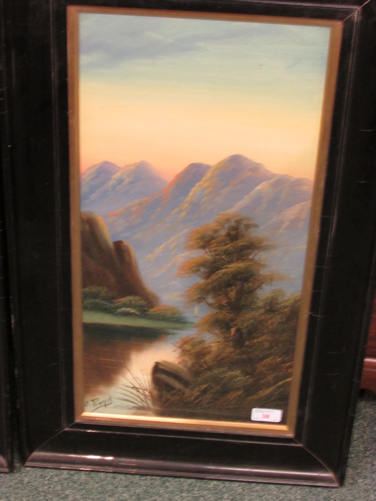 Lot 38 - A pair of gouache landscapes with island and mountains beyond, each signed R Riuld (?) lower