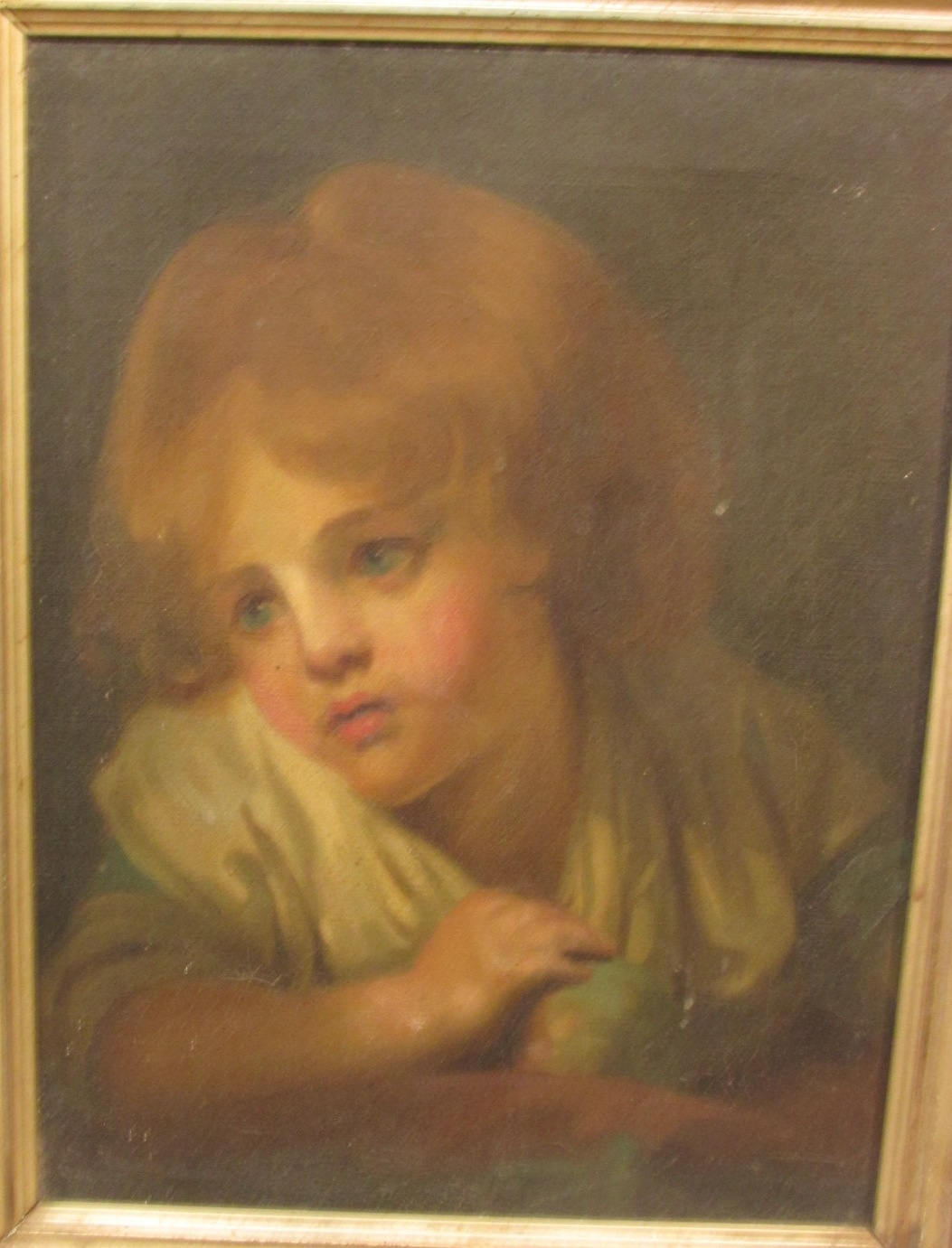 Lot 33 - Portrait of girl holding apple, oil on canvas, no signature, (38.5cm x 29cm), framed