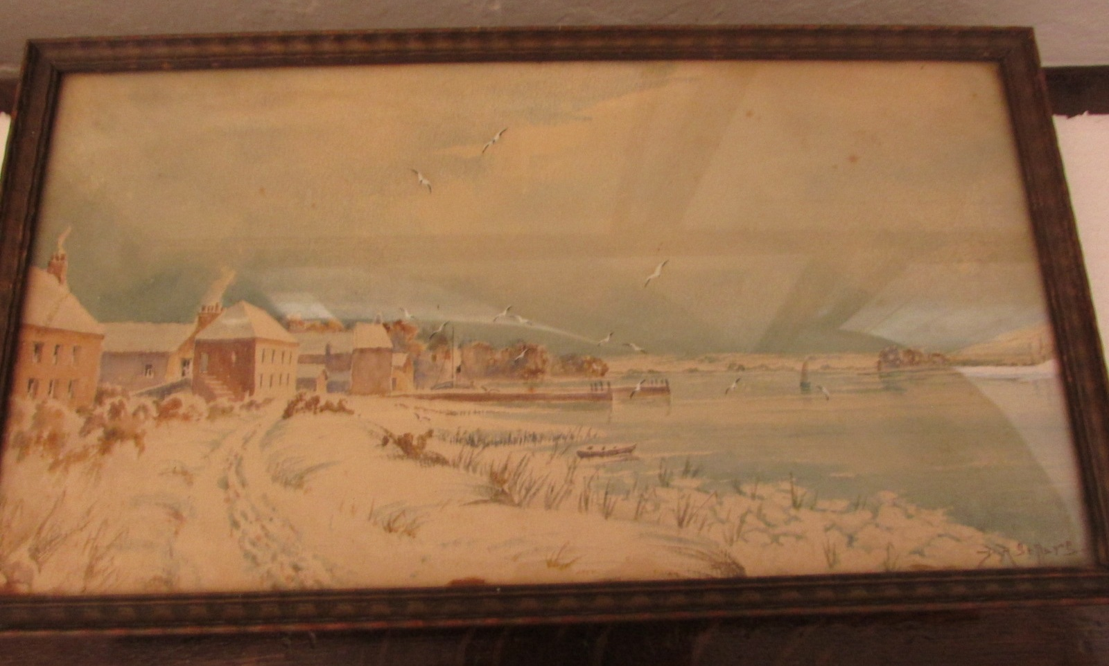 Lot 14 - Winter shore scene with cottages and quay, watercolour, signed D R Sellars lower right, (17cm x