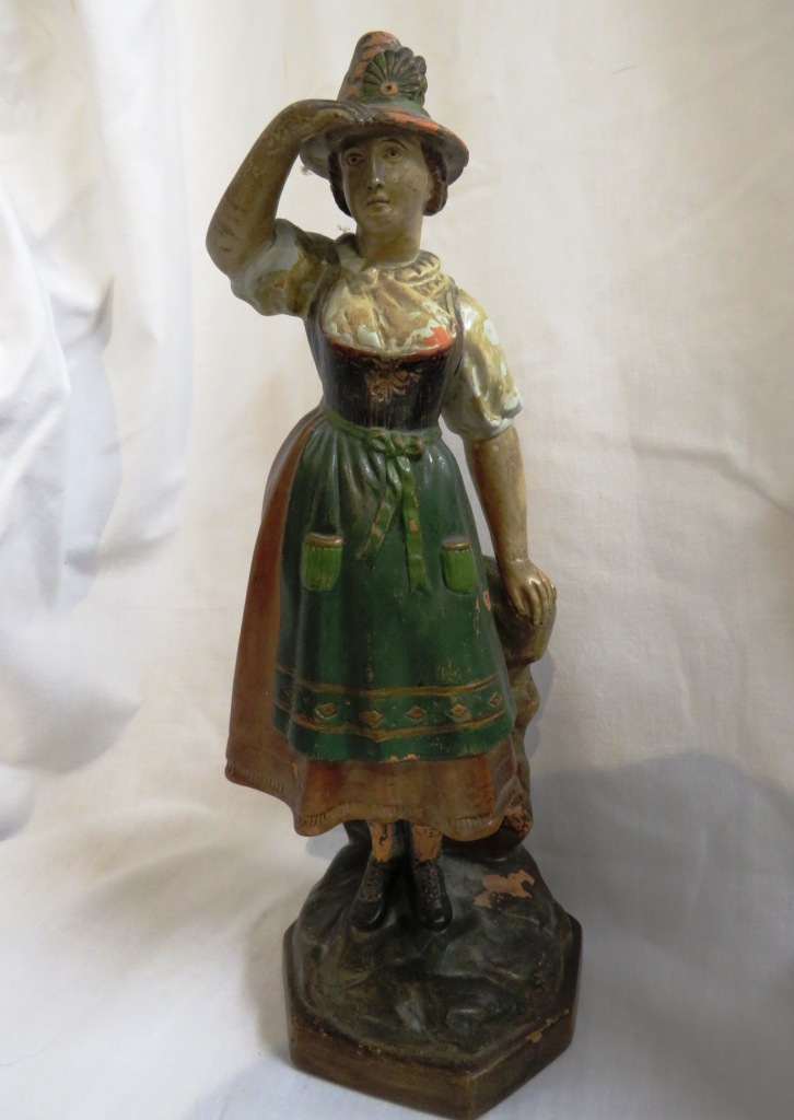 Lot 111 - Pottery figure of a woman stamped to the base stamped with quasi Royal Vienna mark and number